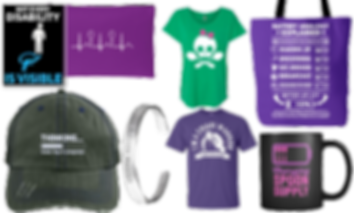 "A collection of products from the Unchargeables Shop.  A sticker saying that not every disability is invisible, a zippered pouch with a heart beat reading on it with spoons in the reading, a green tee with a priate symbol using spoons as the cross and a pink bow on the skull, a purple tote explaining the spoon theory, a hat that reads, ""thinking... brain fog in progress"", a purple tee with rosie the riveter figure stating ""I'm a Chiari Warrior"", and a mug with a battery symbol half-filled with spoons that reads, ""Charging spoon supply""."