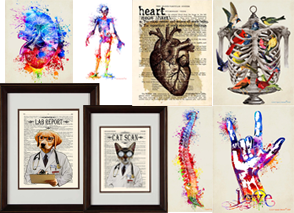 Framed andunframd art prints.  Includes watrcolor style prints of the heart and spine, artistic style illustrations of the bones of the torso with birds flying in and out, an illustration of a dog and a cat in lab coats over textbook page backgrounds- titled Lab Report and Cat Scan respectively.  A rainbow splatter-stye print of a hand making the ASL sign for I Love You.