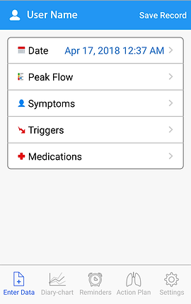 """Screenshot of Asthma MD App, a white screen with blue header with a profile icon and """"save record"""" in white text.  In the main body of the screen is a black outlined box with options in it for Date, Peak Flow, Symptoms, Triggers, and medications.  At the bottom is a menu bar with options for """"Enter Data,"""" """"Diary Chart,"""" """"Reminders,"""" """"Action Plan,"""" and """"Settings."""""""