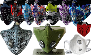 A row of multiple different patterened, filtered masks. The bottom row includes another patterned mask, an olive green textured mask, a red softer looking mask with black underlayer visible through cutouts, and a more utilitarian white filtered face mask.