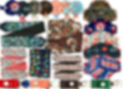 A row of clips, tubie pads, port covers, g-tube pads, clips and line covers in various fabrics including sports teams, camo, floral, candy wrappers, dinosaurs, horses and abstract patterns.