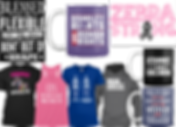 "Tees, stickers and mugs with EDS related messages. Including, ""Blessed be the flxible, for they shall not be bent out of shape,"" ""Disability Rights are Human Rights,"" ""Zeba Strong"" ""Straight Outta Collagen,"" an others."