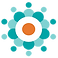 Health Storylines Logo, a series of circles arranged to look like a flower in teals with a white and orange center