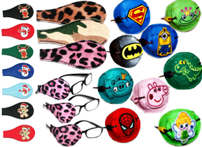 Manydifferent eyepatches- 7 christmast themed charcters on different colors, 1 leopard print, 1 camo print, 1 pink leopard print, 3 pars of glasses showing application of eyepatches, and 9 patches with varying cartoon and superhero characters on them