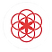 Clue Logo, a red line-art design of overlapping circles on a round white background
