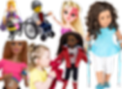 A playmobile princess doll with service dog, a lego toy in a wheelhair, a barbie type doll wih a port wine stain across one eye, an american girl doll with crutches, a black barbie type doll with a red hearing aid, a little gir kissing a stuffed animal with a hearing aid, and a barbi doll with lifted hirt to show a cgm