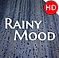 Rainy MoodLogo, a square image of rain on a window with Rainy Mood printed in white in the middle