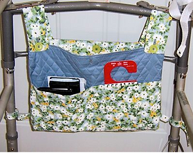 a quilted organizing bag on a walker.