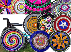 9 imagesof various crocheted wheelchair whee coves in a wide range of color combinations. One imge of a wheelchair with a spiral patterned cover on the wheel.