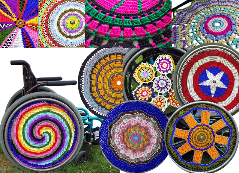 9 images of various crocheted wheelchair whee coves in a wide range of color combinations. One imge of a wheelchair with a spiral patterned cover on the wheel.