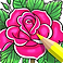 Coloring Book for Adults Logo, a square bit of a coloring page featuring a pink fower with a yellow colored pencil resting on top.