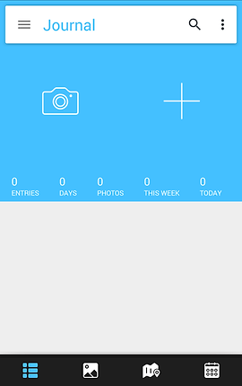 Screenshot of Day One Journal App, a half blue, half white screen, the top blue half has a white search bar below which is a camera icon and a plus symbol.  At the bottom of the blue section is a section to track entries, days, photos, this week and today.  At the bottom of the screen is a black menu bar with a menu icon, image icon, map icon, and calendar icon.
