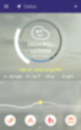 """Screenshot of Plume Air Report App, a photo of a cloudy sky with a dark blue header with navigation and menu icons.  There is a large circular outline that is different colored in segments.  Around it are a series of tickmarks almost all the way around.  The ticks from the bottom left to almost halfway around are filled to create a solid line.  In the center of the circle is a simple cloud shape with a neutral face in it.  White Text reads, """"High Pollution  66 P. AQI"""" Underneath is yellow text of the date and time.  Then white text giving readings for wind speed, temperature, UV and humidity readings.  At the bottom are 4 small circular icons to examine different activities affected by the air quality."""
