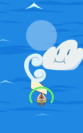 Screenshot of Flowy Beta, a cartoon of open ocean with a white smiling-faced cloud and a small sailboat.