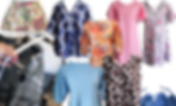 Shirts of varying fabrics, patterns, and sleeve lengths.  2 nightshirts, a long sleeve shirt, 3/4 sleeve shirt, tank top, a tied in front blue plaid cape, and a camo shirt shown open to reveal velcro at the shoulders.  Also a small drain pouch in a cat and floral print.