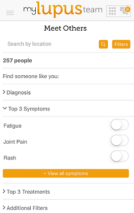 """Screenshot of My Lupus Team App, a white screen with """"my lupus team"""" at the top and black text below reading, """"Meet Others"""".  There is a search by location line, and below several drop-down categories to explore including, """"Find Someone like you:"""" """"Diagnosis,"""" """"Top 3 Symptoms, Fatigue, Joint Pain, rash."""" An orange button reads, """"View all symptoms"""", then more black text reading, """"Top 3 Treatments"""" and """"Additional Filters."""""""