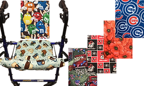 A rollator with a patterned fabric seat and back cover.  The fabric is patterned with teacups.  5 other fabric samples include mnms, a country scene, Unviersity of Georgia logos, poppies, and cubs logos.