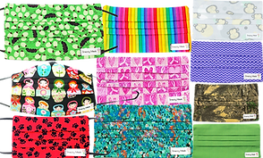 3 rows of 3 masks each.  Patterns include olives and leaves, matrushka dolls, black pawprints on red background, rainbow stripes, pink hearts and ribbons, a watercolor design, a pastel blue background with cartoon monkey heads, a purple chevron pattern, camo, and a lime green mask.