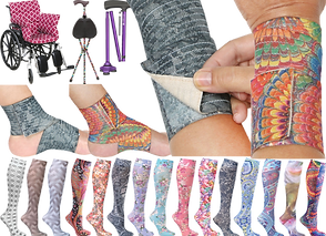 A black wheelchair with a pink patterned full chair cushion, a dot-patterned cane with foldable stool seat, a purple folded cane, Feet and wrists in patterned bandage wraps, and a row of legs in a variety of patterned compression socks