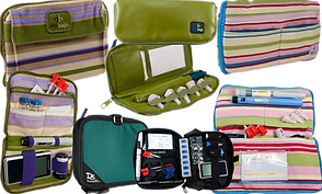 4 different diabetic supply carry cases.  The first has purple green and tan stripes and below it is an image of the same case open with supplies in it.  The 2nd at the top is a small oblong green case, below which is the same case open with supplies in it.  Below that is a larger almost square case in a dark teal green, next to which is the same case open with supplies in it.  The final case has pink, green and blue stripes below which is the same case open with supplies in it.