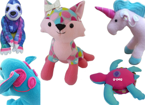Colorful handmade plush animals: a sloth, a fox a unicorn with cochlear implant, a turtle with a g-peg and the back of an elephant with cochlear