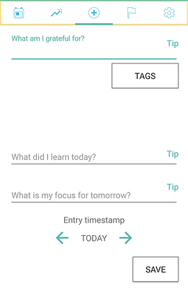 """Screenshot of Growth Journal App, a white screen with small icons across the top for a calendar, trends, adding an entry, a flag and settings icon.  Text prompts read, """"What am I grateful For?"""" with a button for tips and to add Tags.  """"What did i learn today?"""" and """"what is my focus for tomorrow?"""".  There is a line to enter a timestamp and a save button at the bottom."""