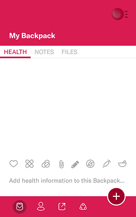 "Screenshot of Backpack Health App, a white screen with thick pink header at the top which reads, ""My Backpack.""  Below in the white section are 3 tabs, one lit in pink the others in gray text.  They read, ""Health, Notes, Files.""  Towards the bottom are a series of icons for different options.  The pink footer also has additional icons."