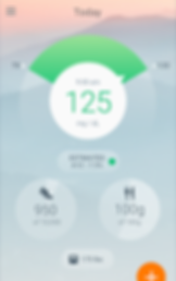 """Screenshot of Sugar Sense App, a hazy photo of hills in the background with a circle in the center reading, """"9:00 AM, 125 mg/dL."""" Around the white circle is a meter-style outer circle with a needle pointing between 70 and 130. Below is a small oval inset reading, """"Estimated A1C: 7.5%"""" 2 round insets below read, """"950 of 10,000"""" with a shoe icon, and """"100g of 180g"""" with a knife and fork icon.  At the bottom is another oval with a scale icon reading 175 lbs.  There is part of an orange circle with a plus sign in the bottom right corner."""
