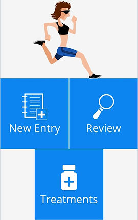 """An illustation of a person jogging in a black sports bra and bule shorts. Below it are 3 bg blue buttons.  1 reads,""""New Entry,"""" the next, """"Review"""" and the 3rd, """"Treatments"""""""