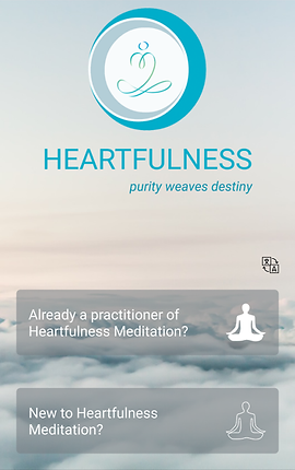 """Screenshot of Let's Meditate App, a view of sky above clouds.  The Let's Meditate Logo is in the middle at the top.  Below it, blue text reads, """"Heartfulness. Purity weaves destiny.""""  Two buttons at the bottom offer choices, """"Already a practitioner of Heartfulness Meditation?"""" and """"New to Heartfulness Meditation?"""""""