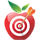 Cronometer Logo, A red apple with red and white bull's eye in the center and an orane-fletched arrow coming from the center