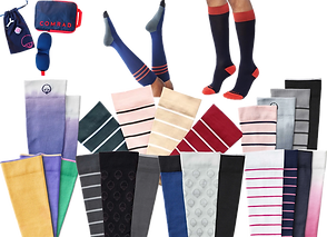 2 rows of compression socks in various colors and striped styles.  At the top is a plan travel kit, and 2 sets of feet wearing colorful compression socks.