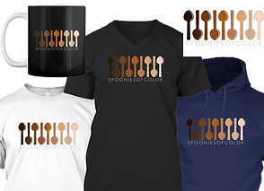 "A white tee sirt, black v neck and dark blue hoodie in a row.  Above is a black mug with white handle, and a white rectangular sticker.  They all hav a series of illustrated spoons in skin tones from almost white to fully black. Underneath the design is text reading, ""Spoonies of Color"""