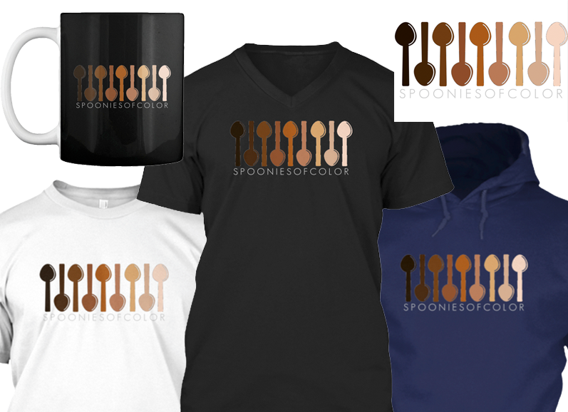 "A white tee shirt, black v neck and dark blue hoodie in a row.  Above is a black mug with white handle, and a white rectangular sticker.  They all hav a series of illustrated spoons in skin tones from almost white to fully black. Underneath the design is text reading, ""Spoonies of Color"""