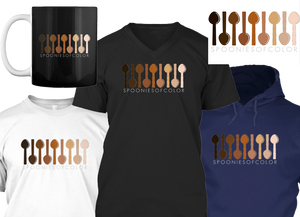 """A white tee shirt, black v neck and dark blue hoodie in a row.  Above is a black mug with white handle, and a white rectangular sticker.  They all hav a series of illustrated spoons in skin tones from almost white to fully black. Underneath the design is text reading, """"Spoonies of Color"""""""
