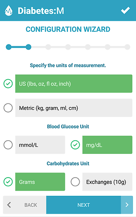 "Screenshot of Diabetes:M App, a white screen with blue header reading, ""Diabetes:M"".  Text below reads, ""Configuration Wizard"" with several places to customize aspects of the app including units of measurement, blood glucose units, and carbohydrate units. Selected unit choices are highlighted in green."