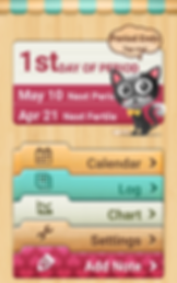 """Screenshot of Period Tracker Pro App, a wood-textured wall with folder tops at the bottom showing different options: """"Calendar,"""" """"Log,"""" """"Chart,"""" """"Settings,"""" and """"Add Note.""""  Above the folders is a rectangle reading """"1st Day of period. May 10 Next Period.  Apr 21 Next Fertile.  In front of the rectangle is a cartoon of a cat with a speech bubble reading, """"Period Ends Tap me!"""""""