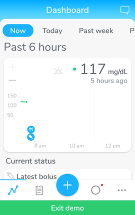 "Screenshot of Center Health App, a white screen with bright blue header and bright green footer.  The header reads, ""Dashboard"" with a chat icon in the corner. There are tabs for Now, Today, and Past week.  The Now tab is highlighted in blue and text below reads, ""Past 6 Hours."" There is a box with various diabetic related readings including insulin amounts, blood sugar readings, and more."