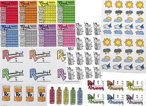 Colorful stylized stickers for trackin mood, medication, hydration and weather as well as dfferent Dr. Appointments