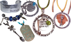 "a silver wrist cuff bracelet stamped with the word Warrior, 3 different looped pendants with various charms and sayings on them including spoons and colored stones.  A dog tag style pendant stamped with ""the struggle is real"" and teal ribbons, a butterfly pendant from which a spoon hangs, and a beaded bracelet with spoons, a ribbon and other charms"