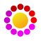 My Days Logo, A round yellow pill surrounded by smaller purple, red and magenta pills
