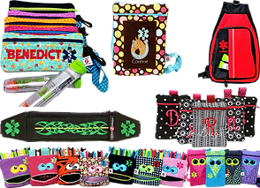 A roll of small epi-pen pouches in different patterns and colors, embroidered with names and medicaton logos on the front, A smal pouch embroidered with  name and a horse in a horseshoe design, a red and black backpack with a medication symbol on it, a black belg with a zipper at the top and green embroidery, 5 zippered pouches with initials on them in different fabrics, and a row of small bags designed to look like monsters or owls which hold inhalers.