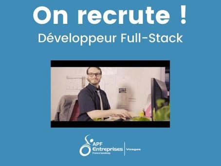 Nous recrutons un développeur Full-Stack !