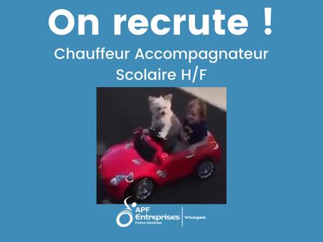 Nous recrutons un chauffeur accompagnateur scolaire H/F !