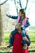 Little Pretty Child On Father Shoulder.j