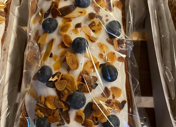 Almond & Blueberry with Lemon Icing Cake