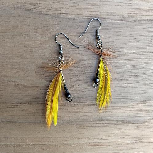 Yellow Fly Fishing Earrings
