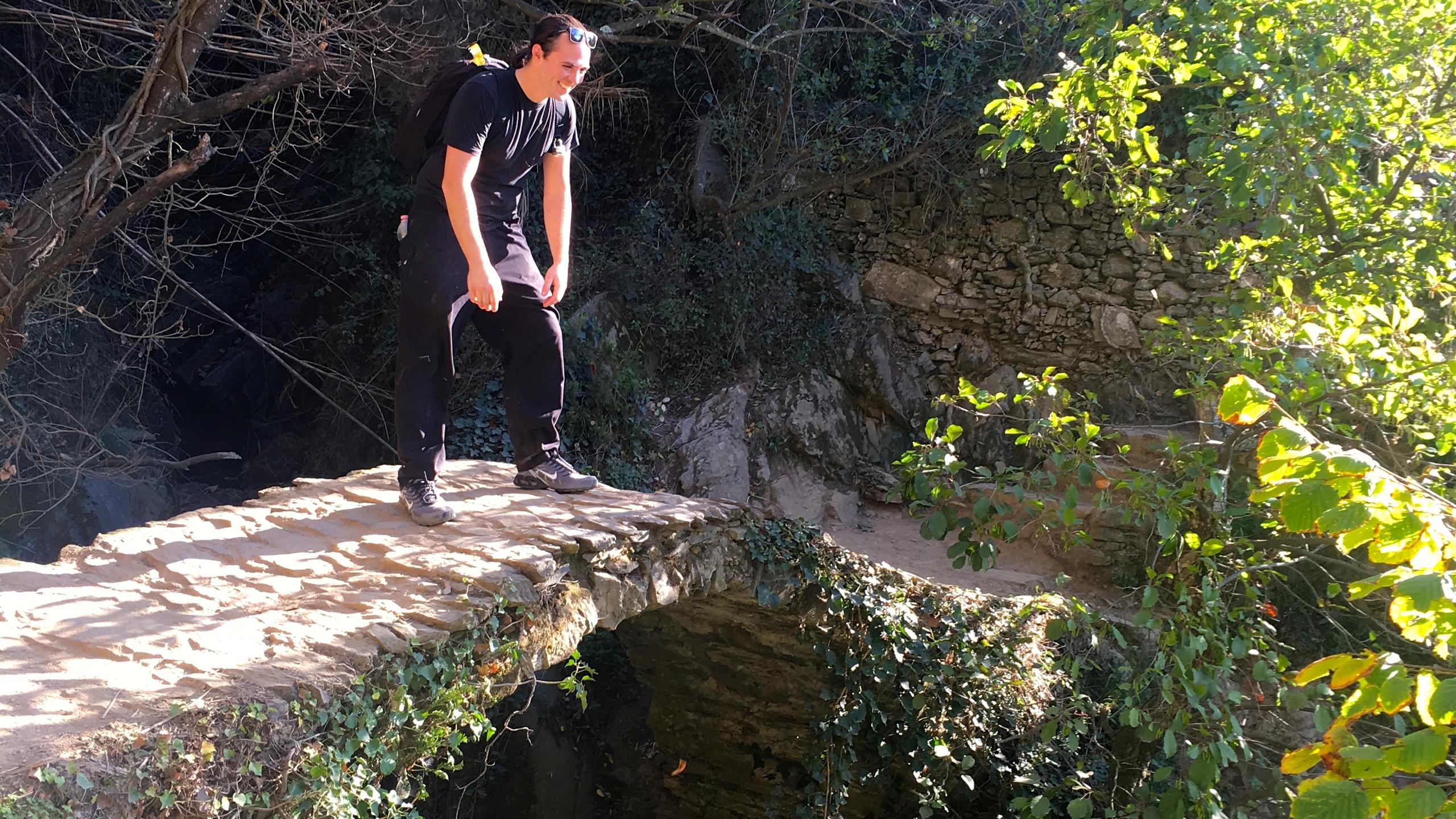 Ian taking a break over a small bridge