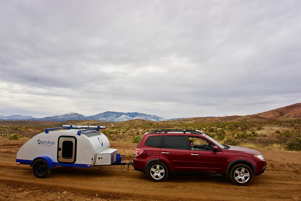 Travel Write Rachel Pasche, exploring Arizona with a Pin Drop Travel Trailer