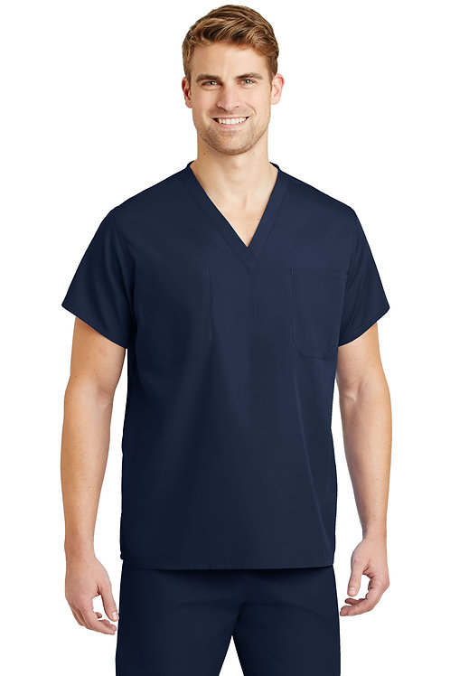 Cornerstone V-Neck Scrub Top with Embroidered Right Chest